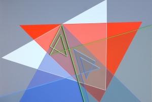 Relief ligne descriptive vert bleu - 39,5x59,5cm - Acrylique sur Dibond - 2014