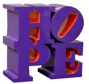 Robert Indiana HOPE_Violet_Red 45,7x45,7x22.9 cm.
